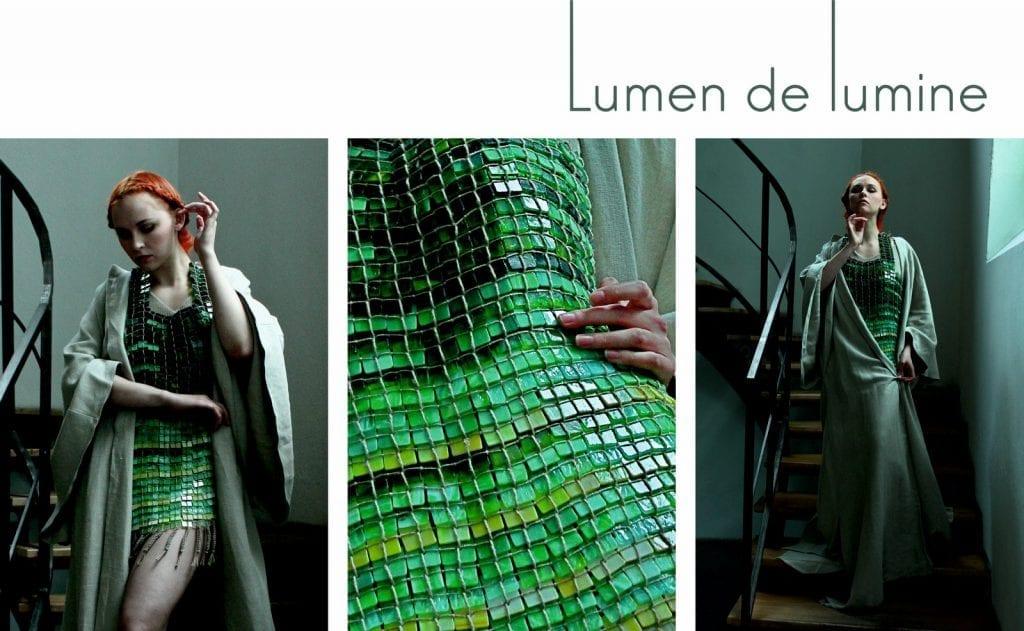 Lumen de lumine - sylwetki z kolekcji dyplomowej - tunika wykonana z 1000 szklanych elementów.