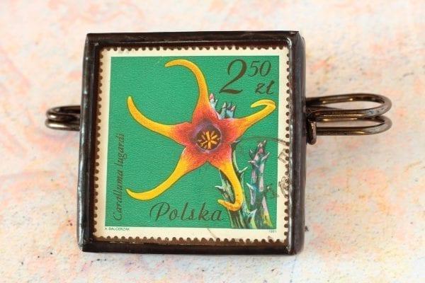 Dzikie Twory broszka ze znaczkiem pocztowym kwiat caralluma