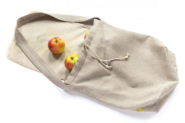 Dzikie Twory - lniana torba na chleb palma spód jabłka