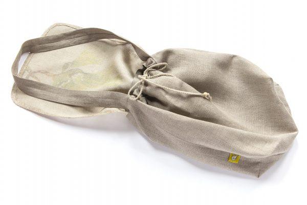 Dzikie Twory - lniana torba na chleb palma spód związany sznurek