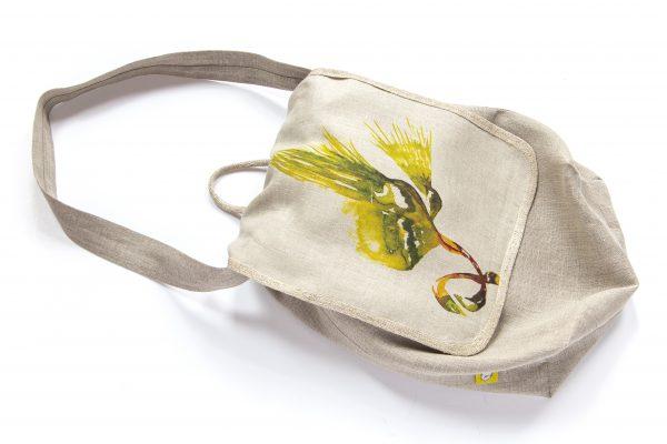Dzikie Twory - lniana torba na chleb palma1