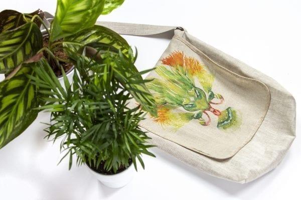Dzikie Twory - lniana torba na zakupy z akwarelowym nadrukiem z motywem roślinnym