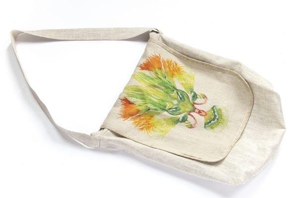 Dzikie Twory - lniana torba na zakupy z akwarelowym nadrukiem z motywem roślinnym przód