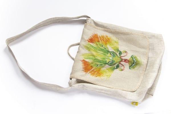 Dzikie Twory - lniana torba na zakupy z akwarelowym nadrukiem z motywem roślinnym przód wersja dwa