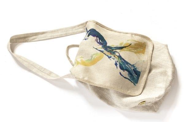Dzikie Twory - lniana torba z akwarelowym nadrukiem dwa ptaki1