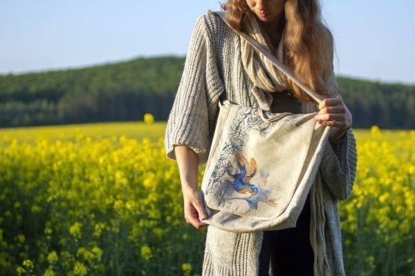 Dzikie Twory - lniana torba z akwarelowym nadrukiem ptaki