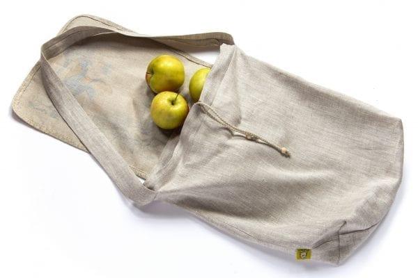 Dzikie Twory - torba z lnu na zakupy akwarela niebieski ptak jabłka