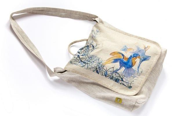 Dzikie Twory - torba z lnu na zakupy akwarela niebieski ptak przód