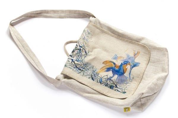Dzikie Twory - torba z lnu na zakupy akwarela niebieski ptak przód1