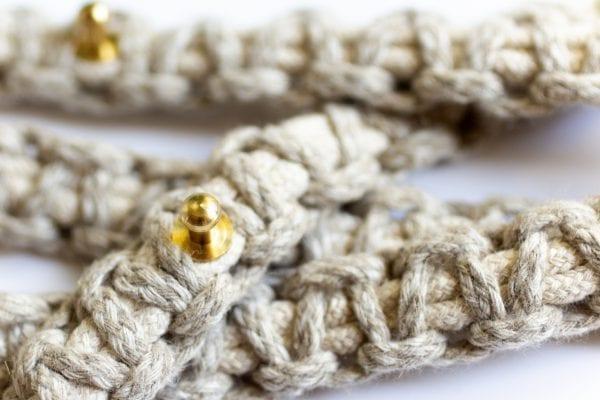 Dzikie Twory - makramowy pasek zaplatany z lnianego sznurka