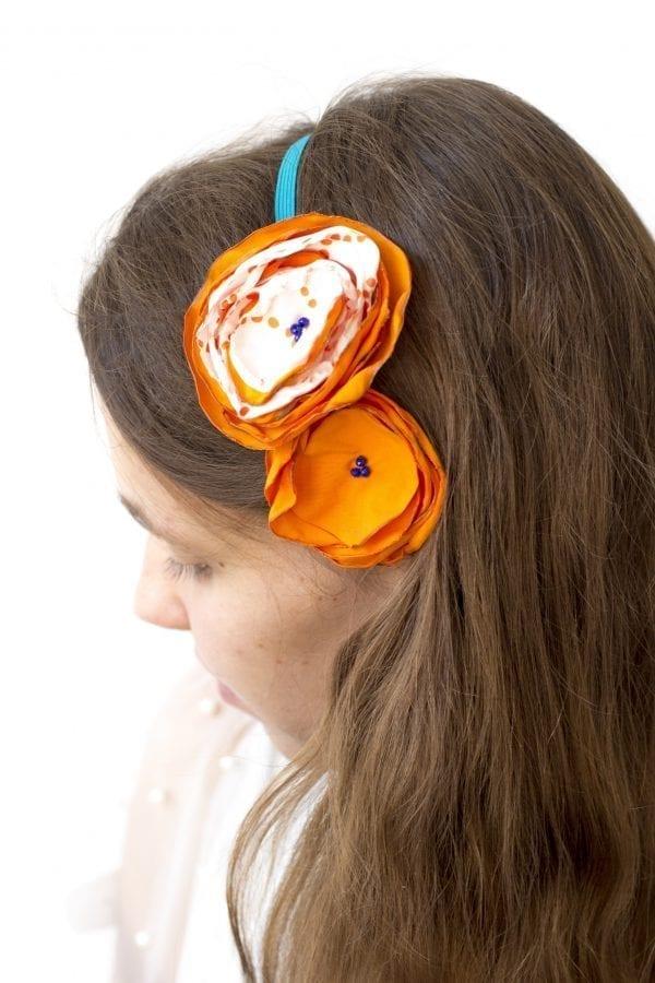 Dzikie Twory - opaska na włosy - z kwiatkiem1