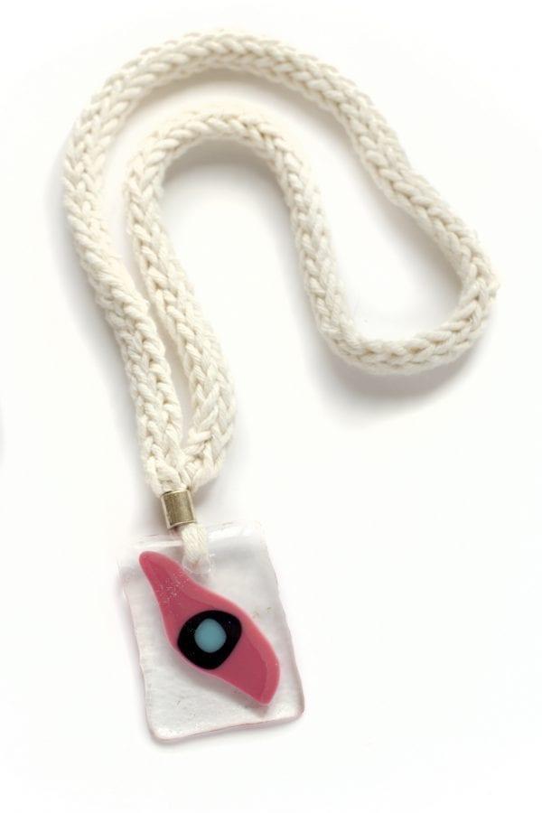Dzikie Twory - szklany wisiorek na bawełnianym łańcuszku- oczko