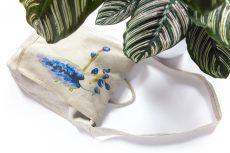 Dzikie Twory - lniana torba z akwarelowym nadrukiem paw na gałęzi2